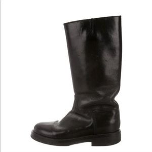 Ann Demeulemeester Black Leather Mid-Calf Boots